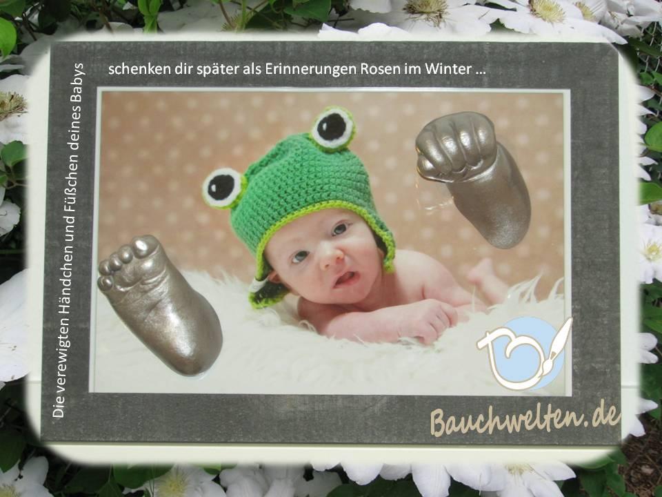 Babyhand und Babyfuß in silber auf Bilderrahmen