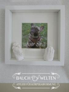 Pfotenabformungen von Emil, französische Bulldogge, im Bilderrahmen